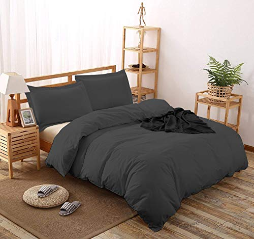 Comfort Beddings Juego de Funda nórdica, 400 Hilos, 100% algodón Egipcio, tamaño Extragrande del Reino Unido (Color Gris sólido)