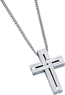 Stainless Steel Interlocking Woven Cross Men's Pendant Necklace with 24