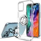 Yokata Funda para iPhone 12 Pro MAX (6.7') Silicona Transparente TPU Carcasa con Anillo Giratorio de 360 Grados, Compatible con Soporte de Montaje Magnético del Coche