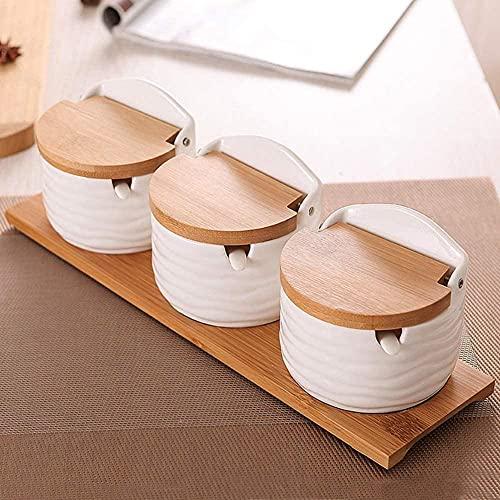 Caja de especias Caja de condimentos Set de condimentos Caja de especias Set de especias Tarro de especias de cerámica de tres piezas Set de especias de condimentos de sal para el hogar Tanque de cond