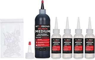 Starbond KE-150 Black Medium, Premium Rubber Toughened CA - Super Glue Kit with Extra Bottles, Caps, and Microtips (Black Medium, 16 Ounce)