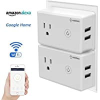 2 Pack Geekbes Smart Plug Wifi Outlet Compatible with Alexa, Google Home Mini & IFTTT