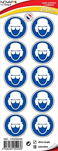 novap–Piktogramm–Kopfhörer, Brille, Gehörschutz Obligatorisch–Brett 10Piktogramme Klebemittel) Durchmesser 40mm–-Brett 10Piktogramme Durchmesser 40mm