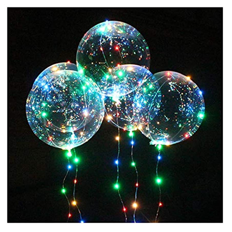Transparent Party Balloons with Colorful LED Light String, Delivered with Feathers and Ribbons for Birthday Wedding Halloween Christmas Newyear Party Decoration (3 PCS)
