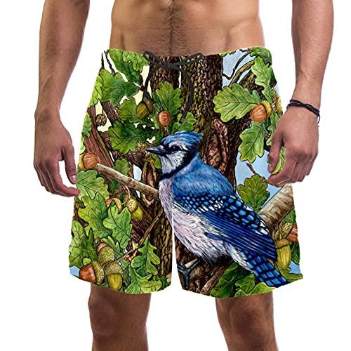 XiangHeFu Short de Plage d'été pour Hommes avec Pantalon Court à séchage Rapide avec Cordon de Serrage à la Taille élastique,Poêle en Poisson de Gland