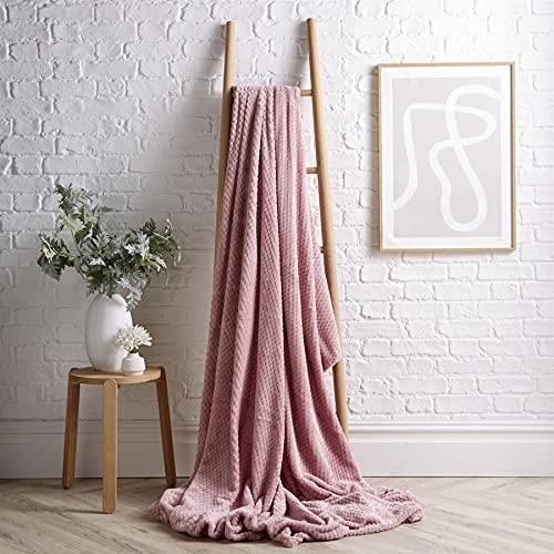 Olivia Rocco Cloud Throws Super Soft Blanket Waffle Honeycomb Throw Sofa Bed Fleece Blankets, 150x200 Blush Pink