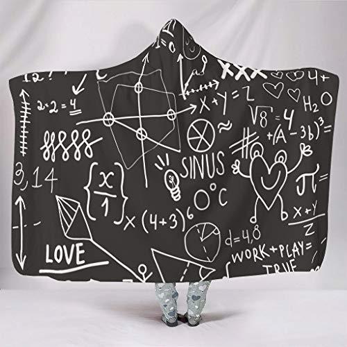 O2ECH-deken met capuchon, 8 maten, met grappig wiskundig patroon, zwart, premium ultra zacht, draagbaar, wit krijt als cadeau van een vriend