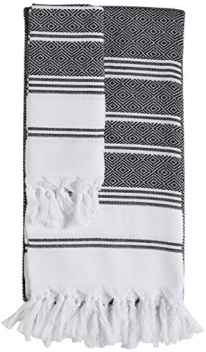 DEMMEX (Set of 2 CopperBull 2018 Turkish Cotton Bath Beach & Hand Face Towel Set (Black)
