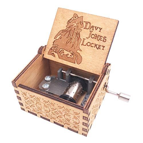 YouTang Lalaland Musik Box Handkurbel Spieluhr Geschnitzt aus Holz, Play Das Thema Lied von Lalaland Davy Jone's Theme Braun
