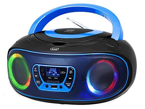 Trevi CMP 583 DAB Stereo Portatile con Ricevitore Digitale di Onde DAB / DAB + e FM con RDS, Display Alfanumerico ad Alta Leggibilità, Lettore CD, Mp3, USB, AUX-IN, Presa Cuffia, Blu