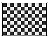 Camco 42822 Outdoor RV Awning Mat with Storage Bag, 9-Feet x 12-Feet - The Perfect Outdoor Accessory with Multiple Uses - Bonus Storage Bag Included - Checkered, Black/White Print