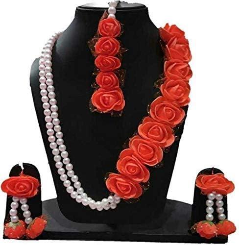 Bridal Red Flower Gota Patti Jewellery Set