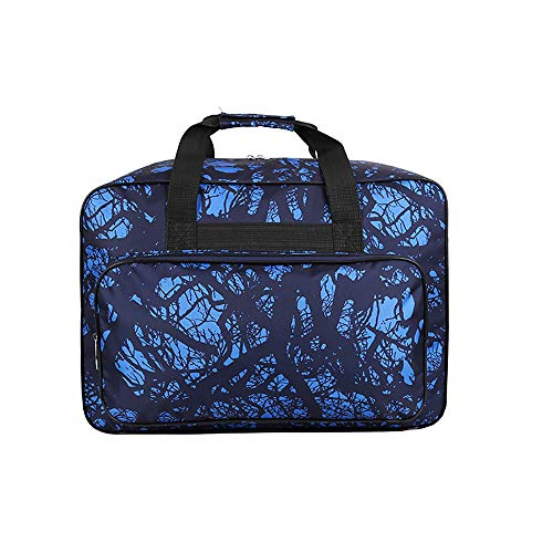 Waterproof Nylon Sewing Machine Tote Bag Sewing Machine Storage Bag Travel Portable Sewing Machine Hand Bags Carrying Case w/ Pockets & Handle for Standard Sewing Machines & Sewing Accessories (Blue)