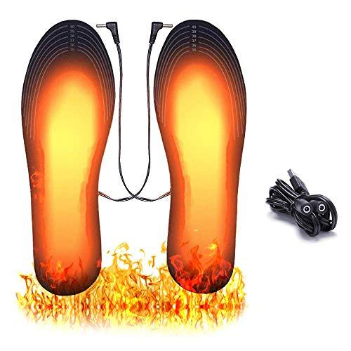 ASANMU Plantillas Calefactables USB, 2020 Nuevo Plantillas de Zapatos con Calefacción Calentadores de Pies Impermeables Lavables Plantillas Calefactables para al Aire Libre Senderismo Camping 41-46