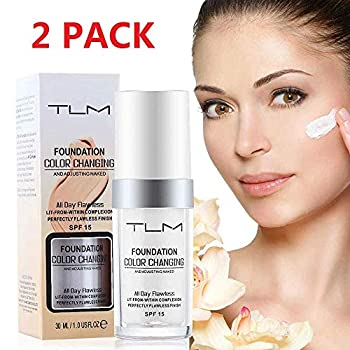 TLM Colour Changing Foundation,30ML Flawless Liquid Makeup Base Nude Face Cover Concealer Changing Warm Skin Tone Moisturizing Cover for Women & Girls  2Pack