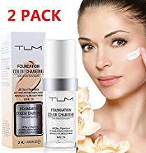 TLM Colour Changing Foundation,30ML Flawless Liquid Makeup Base Nude Face Cover Concealer Changing Warm Skin Tone Moisturizing Cover for Women & Girls (2Pack)