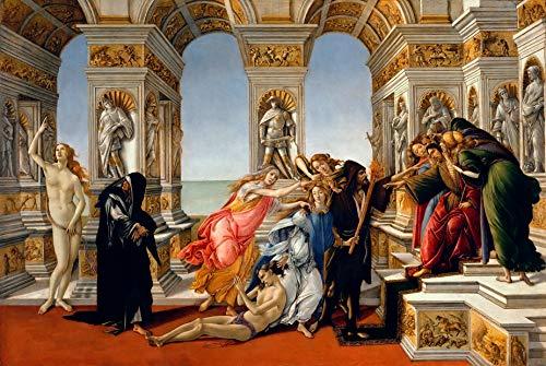 """Sandro Botticelli Calumny of Apelles 1485 Galleria Degli Uffizi 30"""" x 20"""" Fine Art Giclee Canvas Print (Unframed) Reproduction"""