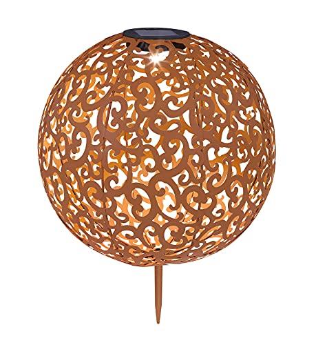 LED Solarlampen für Außen Garten Groß – Solarleuchten Balkon Metall – Dekolampe Gartendeko Rost Kugel Solar – Gartenlampe Antik Rund Ornamente Erdspieß – 40 cm
