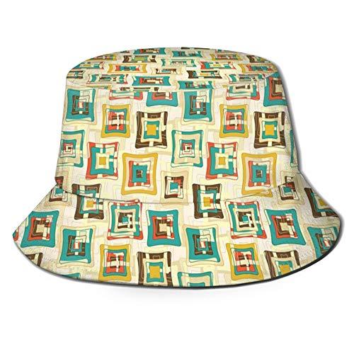 Fisherman Senderismo Sombrero De Ala Ancha Cas,Resumen Estilo Rompecabezas Trippy Fractal Creativo Diseño De Formas De Color
