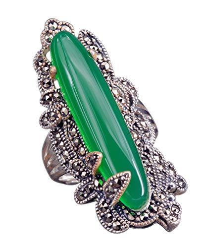 NicoWerk Damen Silberring Chalcelon aus 925 Sterling Silber Vintage mit Stein Breit Grün Oval Edelstein Verstellbar Offen SRI372