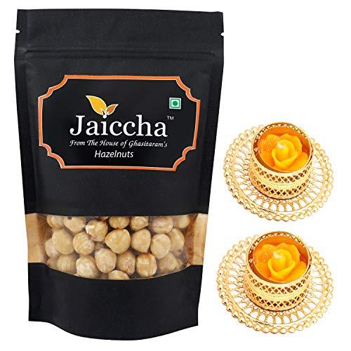 Jaiccha Ghasitaram Diwali Gifts Dryfruit - Hazelnuts 200 GMS with 2 T-Lites