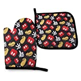 Oven Mitts Di-Sney Mickey Mouse Extreme Heat Resistant Soft Lining Cotton Pot Holder Oven Gloves Set for Kitchen BBQ Grilling Baking Welding 11 Inch