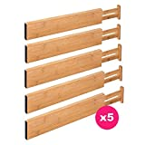 RAPTUROUS Bamboo Drawer Dividers – Pack Of 5 Expandable Drawer Organizers With Anti-Scratch Foam Edges – Adjustable Drawer Organization Separators For Kitchen, Bedroom, Baby Drawer, Bathroom and Desk