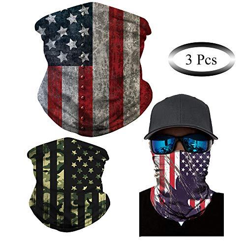 Wkooff Premium Grade Neck Gaiters Bandana for Men Women,3pcs,Camo USA Flag