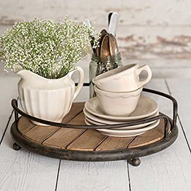 Round Wood Plank Serving Tray-Weathered Farmhouse Chic (Accessories Not Included)