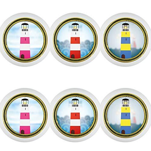 Kunststoff Möbelknopf Möbelgriff Möbelknauf 6er Set KST003W Leuchtturm Kleine Universal Möbelknöpfe Schrank, Schublade, Kommode, Tür, Küche, Bad, Haushalt Kinder Kinderzimmer