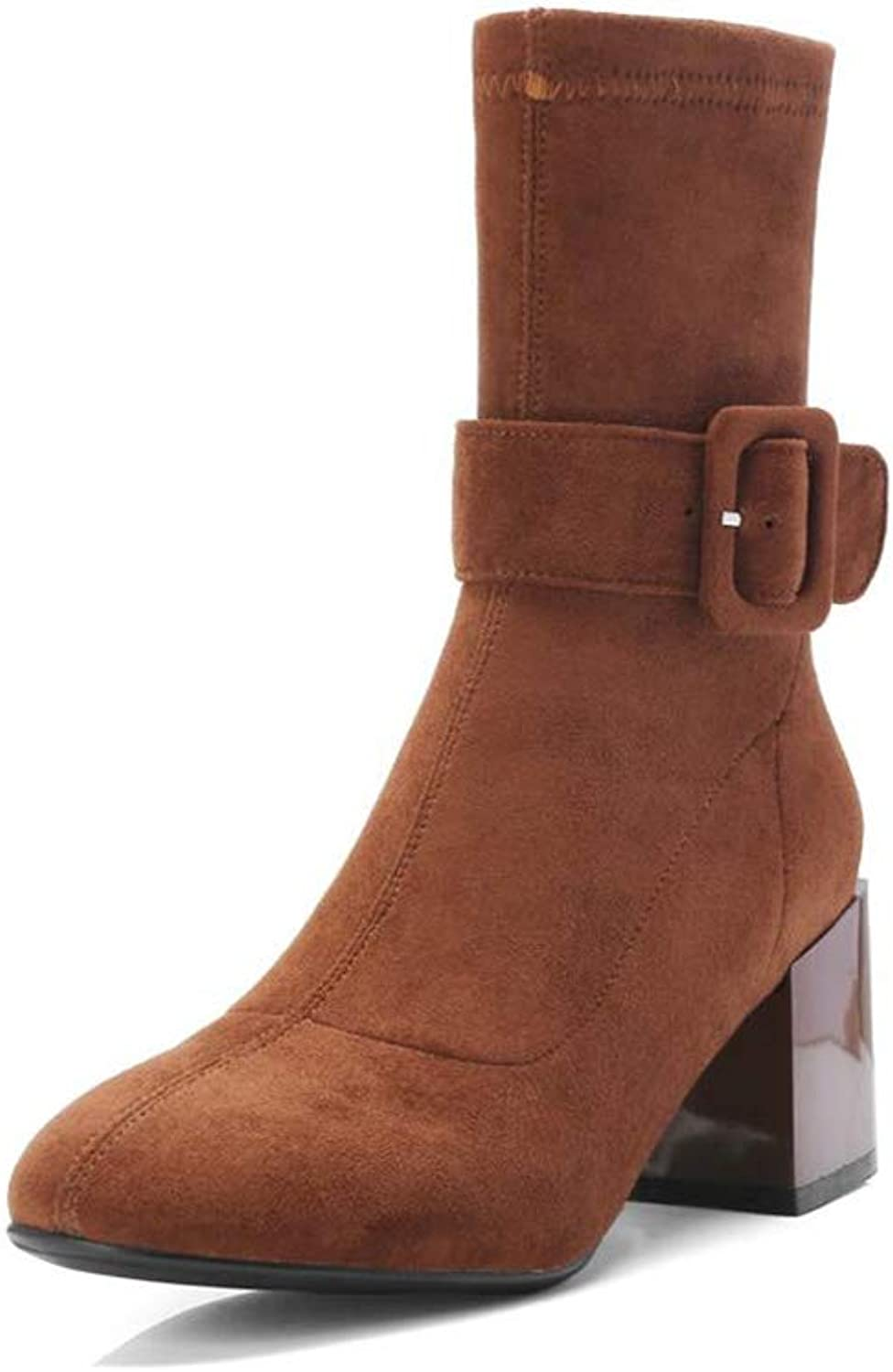 Xiaolin Women shoes Belt Buckle Suede Boots Ankle Boots High Heels Boots Martin Boots Elastic Boots (color   Brown, Size   US5 EU35 UK3 CN34)