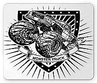 現代のマウスパッド、シールドフラグパターンのモンスタートラックロゴ職人速度スポーツ趣味イラスト、標準サイズの長方形滑り止めゴムマウスパッド、ブラックホワイト