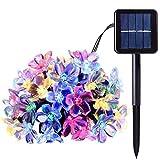 Solar Lichterkette Blume Außen, XVZ-23ft 50 LED Solar Lichterkette Kirschblüten 8 Modi IP65 Wasserdicht Solarlichterkette für Outdoor, Garten, Patio, Hof, Pavillon, Weihnachtsbaum, Party(Mehrfarbig)