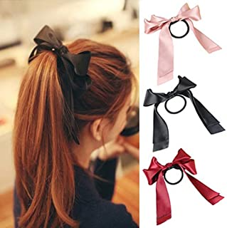 Bluelans® 3pcs Sweet Satin Ribbon Bow Hair Band Rope Hair Scrunchies Ponytail Holders, Black, Red and Pink