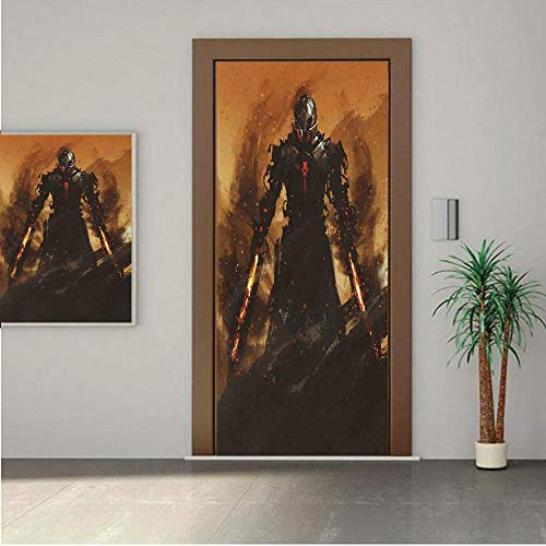 Ylljy00 Fantasy World Door Wall Mural Wallpaper Stickers,Robot Warrior Terminator at War Fire Sword Paint Style Futuristic 24x80 Vinyl Removable Decals for Home Decoration