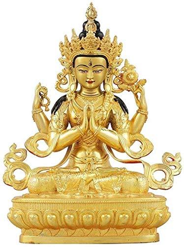 CQQO Decoración De Cuatro Armados Guanyin Buda Estatua Decorativa Estatua Budista Perfecto Regalo De La Casa 13 × 10 × 21cm Ornamento Artesanal Decoraciones De Buddha Artesanía
