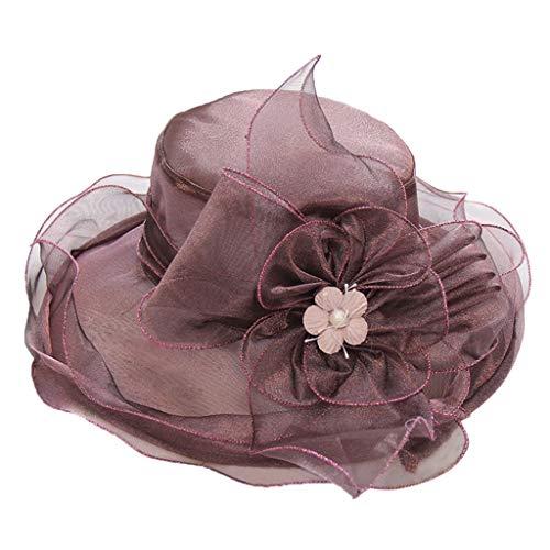 VJGOAL Donna 2020 Nuovo Organza Cappello Decorazione Floreale Tesa Larga Elegante Cappellino Leggero Moda Cappuccio Matrimonio Chiesa Cerimonia Bello
