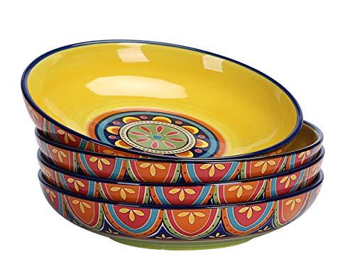 Bico Tunisian Ceramic 35oz Dinner Bowls, Set of 4, for Pasta, Salad, Cereal, Soup & Microwave & Dishwasher Safe