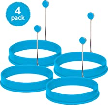 Silicone Egg Rings by Ozetti – Make Perfectly Round Fry Eggs or Pancakes - Professional Non-Stick BPA-Free Silicone- Includes FREE Spatula and Recipes - BLUE (4 - PACK)