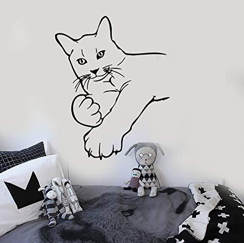 BailongXiao Sin Marco-Gato Gatito Arte calcomanía decoración Dormitorio Mascota Divertido Pared