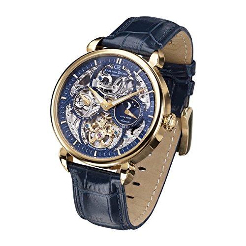 Carl von Zeyten Herren Analog Automatik Uhr mit Leder Armband CVZ0005GBL