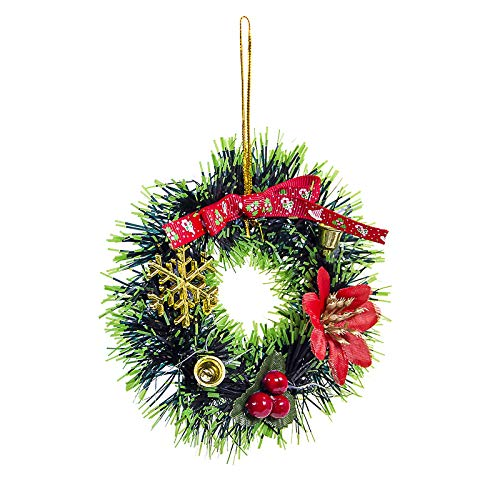 Shimigy Christmas Round Wreath, Christmas Tree Pendant Garland Home /Front Door Ornaments , Living Room, Fireplace, Cabinet, Wall, Window, Shelf Decrorations (D)