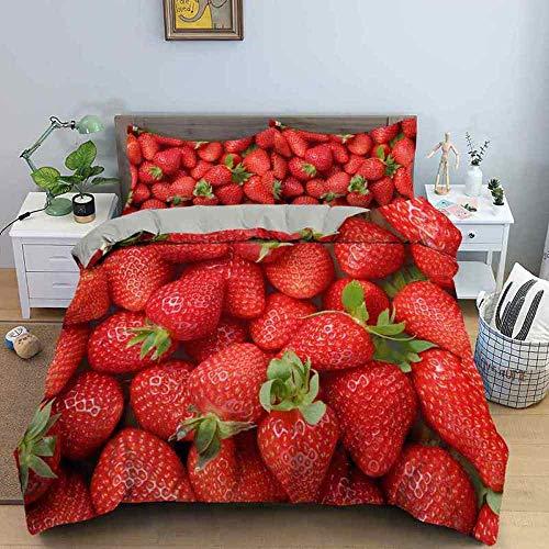 WTWE - Juego de ropa de cama con diseño 3D de fruta fresa, 240 x 220 cm y 2 fundas de almohada de 50 x 75 cm, diseño 3D con funda nórdica de microfibra hipoalergénica