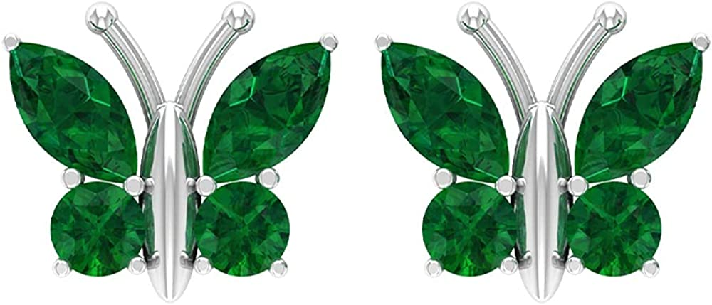 1.75 CT Butterfly Stud Earrings with Round and Marquise Cut Created Emerald (Heirloom Quality), Screw back