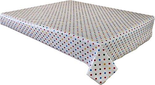 Nappe en vinyle PVC 2 metres (200 x 137 cm) Spots Jolly en rouge, bleu et jaune sur base Crème. pour s'adapter au jusqu'à une Taille 6 places avec table rectangulaire, facile à nettoyer, Envers textile Plastique Nappe (219)