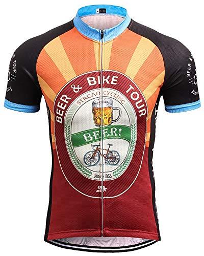 Herren Kurzarm Radtrikot Retro Neuheit Oktoberfest Bike Jersey Top Shirt Gr. XL, Schwarz/Orange