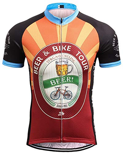 Herren Kurzarm Radtrikot Retro Neuheit Oktoberfest Bike Jersey Top Shirt Gr. XXL, Schwarz/Orange