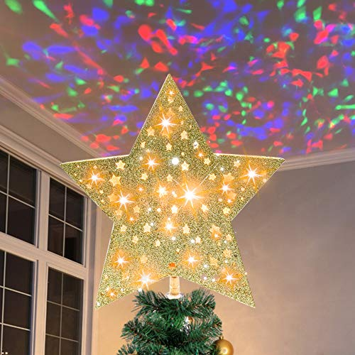Christmas Tree Topper Lighted with Colorful Glitter Lantern Projector, LED Rotating Magic Star Decorations, 3D Hollow Colorful Glitter Lantern Lighted Tree Topper for Christmas Tree Decorations