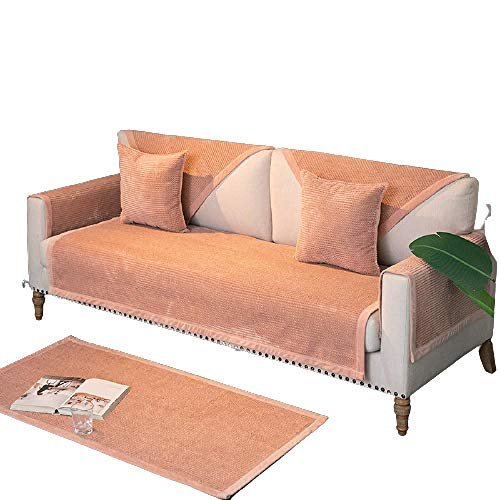 Four Seasons Universal Non-slip Sofa Cushion Sofa Slipcover for Living Room,1/2/3/4 Seater L Shaped Sectional Sofa Covers,Cotton Quilted Couch Recliner Sofa Protector,Pink,70x150cm
