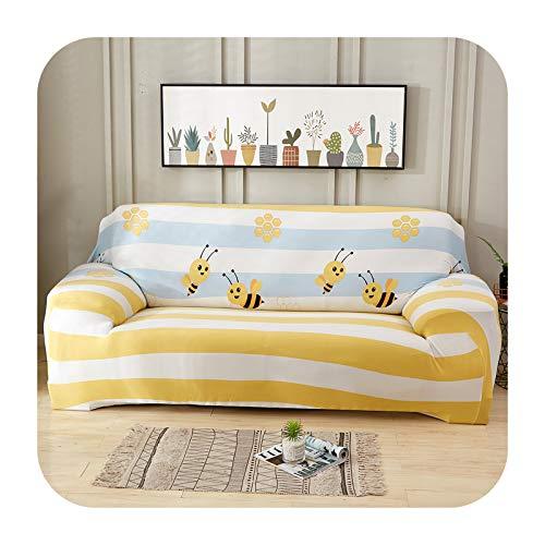 Hylshan Geometría elástica Spandex Funda de sofá para sofá ajustado Todo Incluido Fundas de sofá para sala de estar seccional sofá cubierta Asiento-010-4 plazas 235-300cm